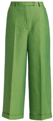 Akris Florella Double-Face Cropped Wide-Leg Trousers