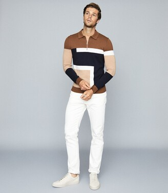 Reiss Summit - Colour Block Zip Neck Polo Shirt in Camel