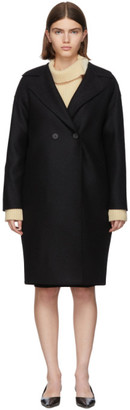 Harris Wharf London Black Pressed Wool Double-Breasted Coat
