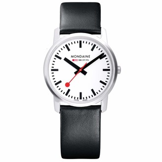Mondaine Women's SBB Stainless Steel Swiss-Quartz Watch with Leather Calfskin Strap Black 20 (Model: A400.30351.11SBB)