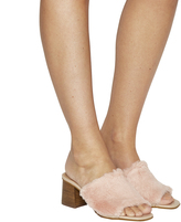 Office Muffy Faux Fur Mid Heel Mules