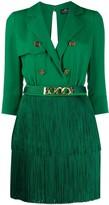 Elisabetta Franchi open back fringed skirt dress