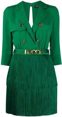 Elisabetta Franchi Open Back Fringed Skirt Dress
