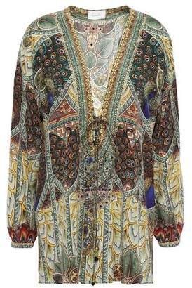 Camilla Echos Of Enchantment Embellished Lace-up Silk Crepe De Chine Top