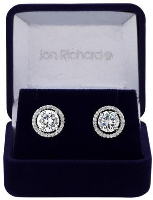Jon Richard Jewellery Jon Richard Rhodium Plated Cubic Zirconia Halo Stud Earring In A Gift Box
