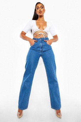 boohoo High Waisted Boyfriend Jean