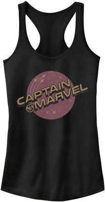 Licensed Character Juniors' Captain Marvel Purple Planet Logo Tank