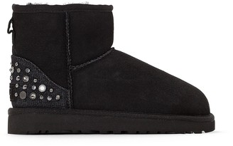 UGG Mini Studded Bling Leather Ankle Boots with Sheepskin Lining
