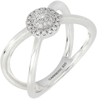 Carriere Sterling Silver Pave Diamond Circle Split Shank Ring - 0.14 ctw