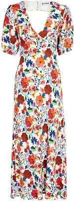 Rixo Steph Floral Midi Dress