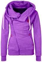 Azyuan Women's Oblique Zipper Hoodies Funnel Neck Full Zip Hooded Sweatshirt