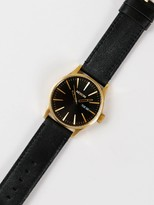 Nixon Sentry Leather 42mm Analogue Watch in Black & Gold