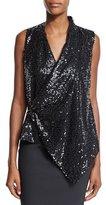 Victoria Beckham Sleeveless Embellished Draped Top, Black