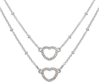 Lauren Conrad Pave Open Heart Pendant Necklace Set