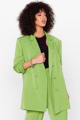 Nasty Gal Womens Go About Your Business Oversized Tailored Blazer - Green