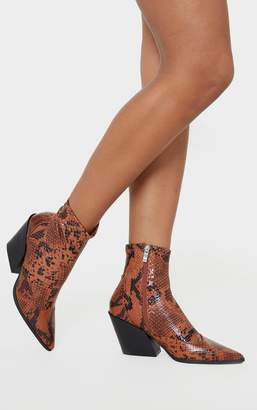 Indigo Snake Point Toe Sock Ankle Western Boot