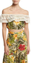 Miguelina Dakota Tropical Floral-Print Off-the-Shoulder Crop Top