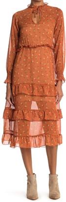 Velvet Torch Floral Print Tiered Ruffle Chiffon Midi Dress