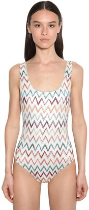 Missoni Viscose Knit Lame One Piece Swimsuit