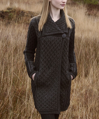 West End Knitwear Women's Cardigans CHARCOAL - Charcoal Plaited Merino Wool One-Button Cardigan - Women