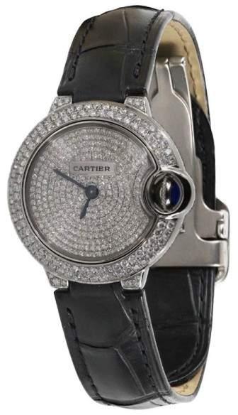 Cartier Ballon Bleu Silver Diamond Dial Stainless Steel Womens Watch