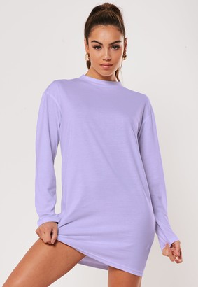 Missguided Lilac Basic Long Sleeve T Shirt Dress