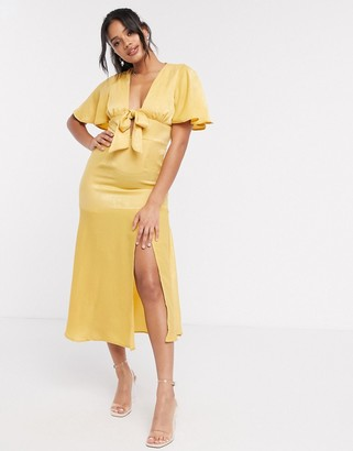 ASOS DESIGN washed satin midi tea dress in yellow