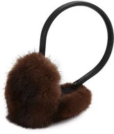 Surell Leather & Mink Fur Earmuffs, Brown/Black