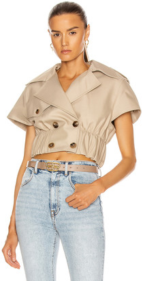 Alexander Wang Cropped Shirt Trench Jacket in Stone | FWRD