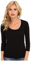 Three Dots 100% Cotton Heritage Knit 3/4 Sleeve Scoop Neck (Black) Women's Long Sleeve Pullover