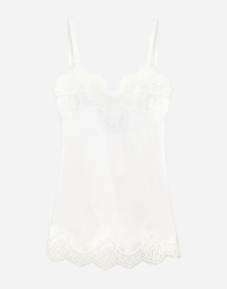 Dolce & Gabbana Satin Lingerie Top With Lace