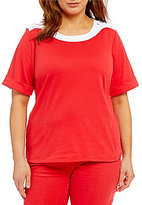 Allison Daley Plus Contrast Trim Wide Crew-Neck Elbow Sleeve Solid Knit Top