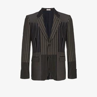 Alexander McQueen Patchwork striped single-breasted blazer