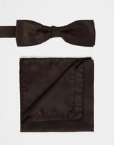 Calvin Klein Bow Tie & Pocket Square Set - Black