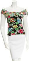 Blumarine Floral Off-The-Shoulder Top