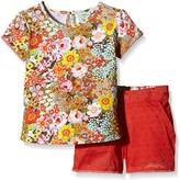 Yumi Girl's Floral Print Tshirt and Short Set () Floral Clothing Set, (Manufacturer Size:4-)