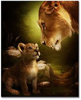 Rihe DIY Oil Painting Paint by Numbers Kits for Adults Kids Beginner - Lions 16 x 20inch with Brushes and Acrylic Pigment (Without Frame)