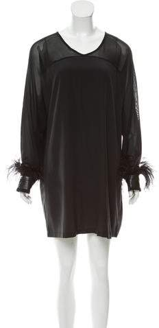 Givenchy Feather-Trimmed Mini Dress