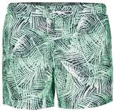 Topman Green Jungle Palm Print Swim Shorts