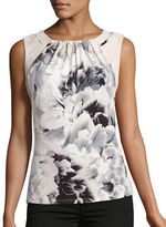 Calvin Klein Printed Pleat Tank with Faux Suede Panels
