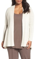 Eileen Fisher Plus Size Women's Organic Linen Blend Crepe Knit Shaped Cardigan