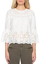 Willow & Clay Women's Embroidered Bell Sleeve Top