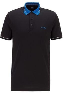 HUGO BOSS Logo-collar slim-fit polo shirt in S.Cafe fabric