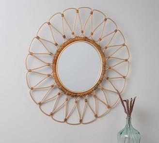 "Pottery Barn Summer Rattan Round Wall Mirror - 35"""