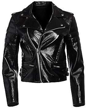 Helmut Lang Women's Glossy Leather Cropped Biker Jacket