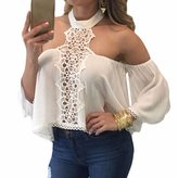 WINSON Summer Women Halter Neck Off Shoulder T-Shirts Long Sleeve Blouse Tops