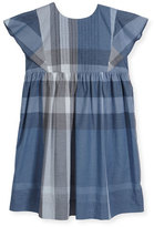 Burberry Gertrude Sleeveless Check Dress, Medium Blue, Size 4-14