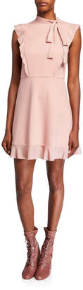 RED Valentino Tie-Neck Sleeveless Cady Tech & Crepe De Chine Dress