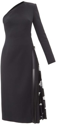 David Koma One-shoulder Pleated-panel Crepe Dress - Black