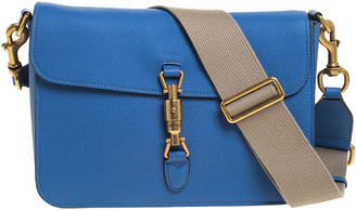 Gucci Blue Soft Leather Jackie Flap Shoulder Bag